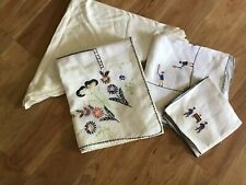 Vintage embroidered tablecloth lot of 2; plus 8 napkins