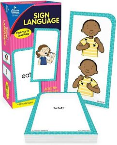 Carson Dellosa American Sign Language Flash Cards—Double-Sided 122 Asl Signs Wit