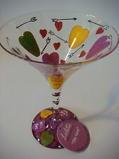 """Lolita Holiday MARTINI Collectible GLASS """"LOVE"""" Candy Hearts ~ Great GIFT IDEA +"""