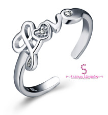 Ring with Cubic Zirconia 925 Sterling Silver Adjustable Toe/Knuckle