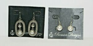Two Pairs PREMIER DESIGNS Earrings  A-LIST and Ivory NWT Silver Mesh Pierced