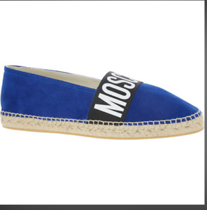 MOSCHINO  Men's Royal Blue Suede Espadrilles Slip Ons Shoes £290
