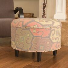 Hedley Contemporary Round Printed Fabric Ottoman