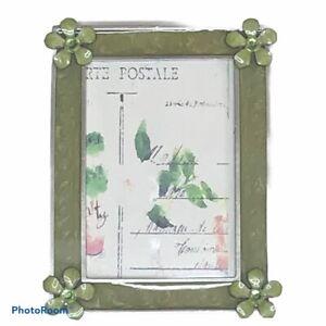 Anthropologie Green Flower Enamel Picture Frame 4x6