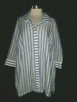 NEW FOXCROFT Plus Size 20W Blouse Shirt Top Blue White Striped 3/4th Sleeve