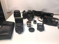 35mm Camera Lot Canon Eos Rebel S2 Pentax Iqzoom 700 Olympus Multiple Lenses