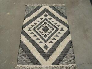 2.5'x4' Floral Wool Kilim HandMade Door Mat Rugs Floor Covering Black White
