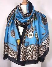 Designer Inspired Scarf Pashmina Turquoise Navy 100% Silk Oversized Long NEW