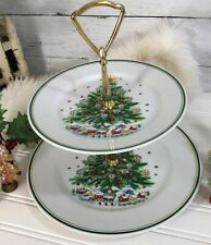 """Salem's Christmas Eve Collection Two Tier Tidbit Tray 10"""" & 7""""  NEW In The Box"""