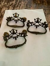 Antique Ornate Brass Drawer Pull Set of 3