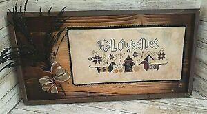 Halloweenies - Dachshund Dogs - Cross Stitch Framed with Black Floral Spray