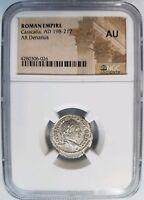Caracalla Roman Empire AD 198-217 Silver AU NGC AR Denarius Caesar Bust Ancient