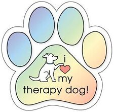 I LOVE MY THERAPY DOG!  dog paw car magnet **QUALITY**