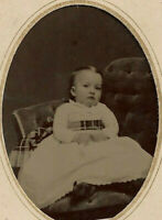 Beautiful Tintype Photograph Pretty Little Girl Seated in a Comfortable Chair