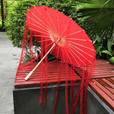 Silk Oil Paper Umbrellas Ancient Hanfu Cosplay Dance Wedding Parasol Ribbon Bead