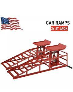 11000lbs Pair Portable Car Repair Lift Height Hydraulic Vehicle Ramps Capacity.