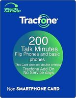 TracFone 200 Talk Minutes Add On Refill Card for Basic Phones & Flip Phones PIN