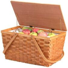 Large Woodchip Picnic Basket, Portable Outdoor Food Storage with Carry Handles