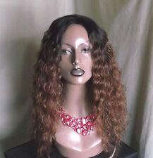 Human hair blend wig handmade black/auburn/brown curly see description