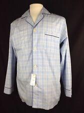 Brooks Brothers Men's Blue Plaid Long Sleeve Pajama Shirt Top Navy Trim Sz Small