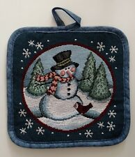 Vintage Christmas Winter Holiday Snowman Pot Holder - Excellent Condition