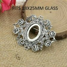 Antique silver vintage cabochon brooch setting size fits 18x25mm oval glass