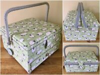 FABULOUS SEWING BOXES BASKETS 3 Styles available 'SHEEP' DESIGN SUPER QUALITY