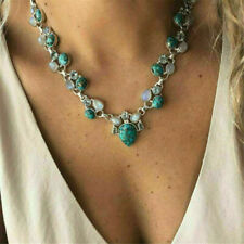 Boho Gemstone Flower Turquoise 925 Silver Chain Pendant Necklace Jewelry Gift