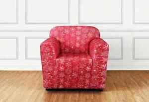 sure fit Stretch Snowflake One Piece Chair Slipcover red new