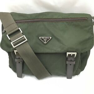 Auth Prada  Shoulder back Nylon khaki FromJapan1014*3190
