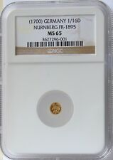ND(1800) German States 1/16 Ducat Gold Nurnberg NGC MS65 Tough to find this nice