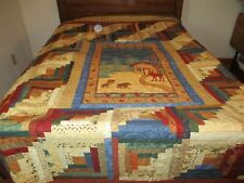 """""""Club Lake Log Cabin"""" queen/king size machine quilted quilt (size: 92"""" X 101"""")"""