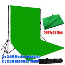 Photo Screen 3x3.6m Green Muslin Backdrop Studio Heavy Duty Background Stand Kit