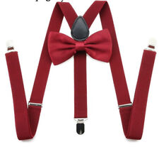 Wine Red Pre-tied Bow Tie Braces Suspenders Set Matching Formal Quirky Fashion