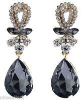 1 Pair Elegant White Crystal Rhinestone  Ear Drop Dangle Stud long Earrings 196