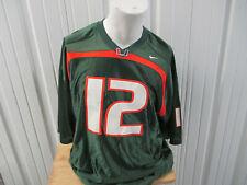 VINTAGE NIKE UM MIAMI HURRICANES XL #12  FOOTBALL GREEN JERSEY JIM KELLY PREOWNE