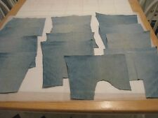 "BLUE DENIM MATERIAL, LOT OF 13 SOLID PIECES, APPROXIMATELY 7"" X 7"" EACH PIECE"