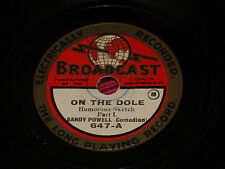 "Sandy Powell:  On the dole   8""    78   Broadcast  647  Music Hall"