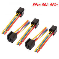 Universal DC 12V/24V 80A 5-Pin Wire Relay Socket Harness Connector 5pcs for Car