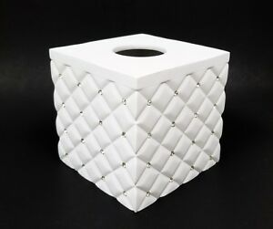 NEW WHITE DIAMOND SHAPE QUILTED WITH CRYSTALS RESIN,3D TISSUE BOX NAPKIN HOLDER