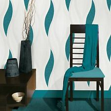 WAVE EMBOSSED TEXTURED WALLPAPER - TURQUOISE - E62001 UGEPA NEW