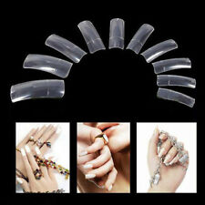 500Pcs Clear Half Transparent Acrylic UV Gel Manicure French False Nail Art Tips