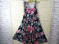vintage tea dress viscose ditsy floral 40s style fit & flare boho size M D613