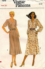 1970's VTG VOGUE Misses' Dress Pattern 7312 Size 12 UNCUT