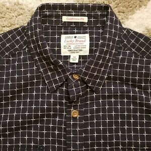 Lucky Brand California - Med- Navy Blue and White Geometric Pattern Shirt