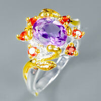 14 white gold Natural fine Amethyst Garnet 925 Sterling Silver Ring  / RVS328