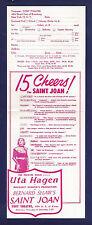 """Uta Hagen """"SAINT JOAN"""" Rex Harrison """"VENUS OBSERVED"""" 1952 Theatre Guild Flyer"""