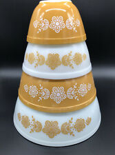 Pyrex Butterfly Gold Nesting Mixing Bowl Set 401 402 403 404