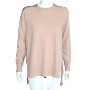 J. CREW 100% Cashmere High-Low Color Block Tan Brown Sweater Womens Small - 7305