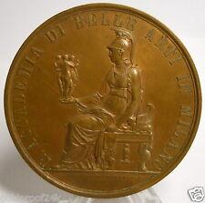 RARE 1893 ACCADEMIA DI BELLE ARTI IN MILANO, ITALIAN AWARD BRONZE ART MEDAL